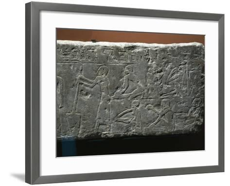Bas-Relief Depicting Baker's Shop, Woman Grinding Wheat and Workers Kneading Flour--Framed Art Print