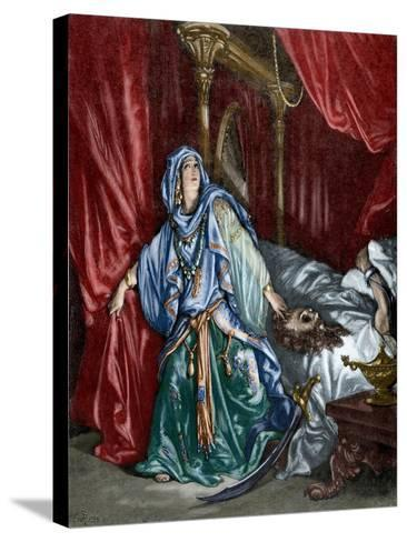 Judith after Behead the Assyrian General Holofernes--Stretched Canvas Print