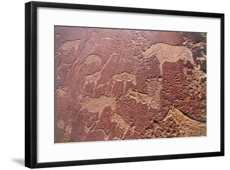 Namibia, Damaraland Wilderness Area, Twyfelfontein, Brandberg Mountains, Stone Age Rock Engravings--Framed Art Print