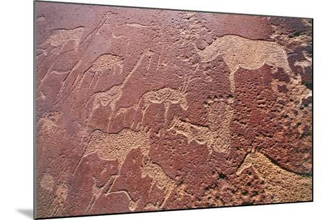 Namibia, Damaraland Wilderness Area, Twyfelfontein, Brandberg Mountains, Stone Age Rock Engravings--Mounted Giclee Print
