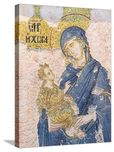 Byzantine Church of St. Saviour in Chora, Mosaic of the Virgin Mary Holding the Christ Child--Stretched Canvas Print
