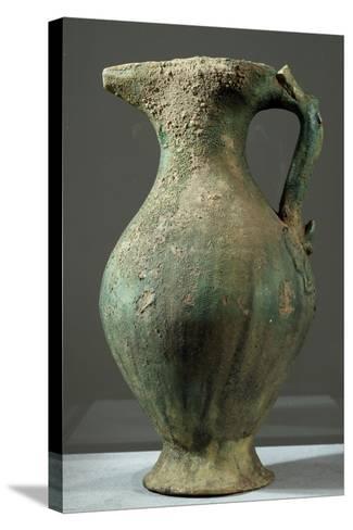 Glazed Iridescent Green Ceramic Ewer, China, 6th Century--Stretched Canvas Print