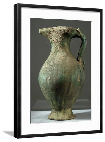 Glazed Iridescent Green Ceramic Ewer, China, 6th Century--Framed Art Print