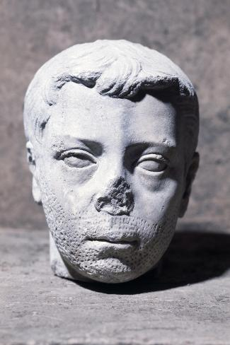 Male Head, Sculpture--Stretched Canvas Print