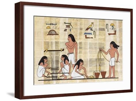 Papyrus Depicting Spinning and Weaving, Reconstruction of Middle Kingdom Painted Relief--Framed Art Print