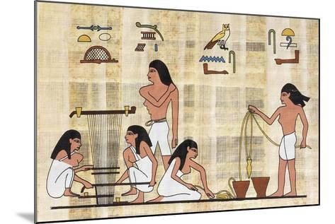 Papyrus Depicting Spinning and Weaving, Reconstruction of Middle Kingdom Painted Relief--Mounted Giclee Print