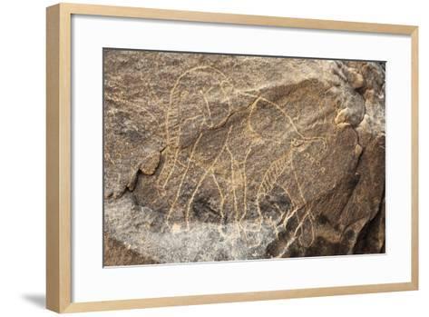 Algeria, Sahara Desert, Tassili-N-Ajjer National Park, Rock Carving Depicting Elephant--Framed Art Print