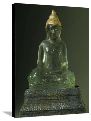 Buddha Subduing Mara, Green Stone and Gold Statue, Bangkok Style, Thailand--Stretched Canvas Print