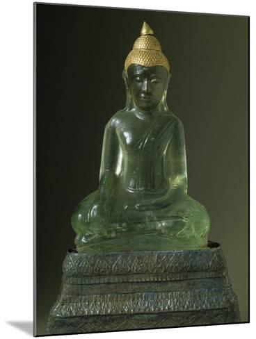Buddha Subduing Mara, Green Stone and Gold Statue, Bangkok Style, Thailand--Mounted Giclee Print