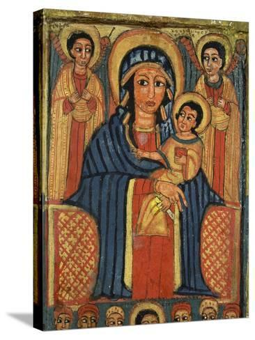 Enthroned Virgin with Child and Angels, Detail from Triptych. Ethiopia 18th-19th Century--Stretched Canvas Print