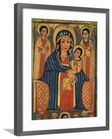 Enthroned Virgin with Child and Angels, Detail from Triptych. Ethiopia 18th-19th Century--Framed Art Print