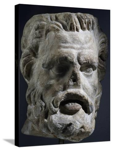 Colossal Marble Head of Satyr, Artifact Uncovered in Miletus, Turkey--Stretched Canvas Print