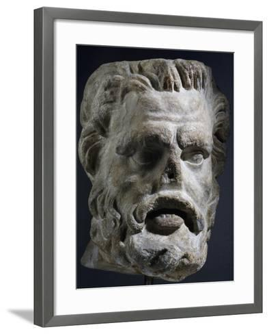 Colossal Marble Head of Satyr, Artifact Uncovered in Miletus, Turkey--Framed Art Print