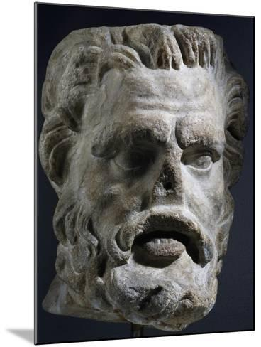 Colossal Marble Head of Satyr, Artifact Uncovered in Miletus, Turkey--Mounted Giclee Print