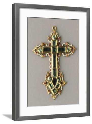 Gold, Enamels and Emeralds Cross--Framed Art Print