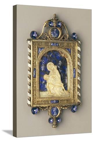 Chiselled, Gilded Silver Pendant Plaque Set with Pearls and Mother-Of-Pearl--Stretched Canvas Print