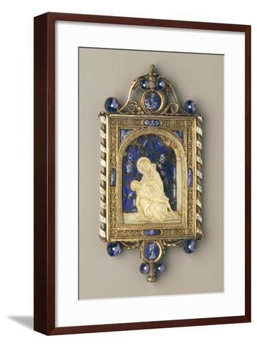 Chiselled, Gilded Silver Pendant Plaque Set with Pearls and Mother-Of-Pearl--Framed Art Print