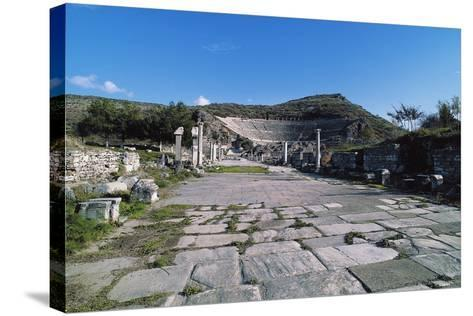 Arcadian Way and the Greek-Roman Theatre, Ephesus, Turkey, Built in Hellenistic Period Ca 200 BC--Stretched Canvas Print