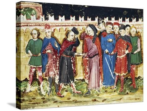 Bribing Tax Officials at the City Gates, Miniature from the Book of Privileges of Brescia--Stretched Canvas Print