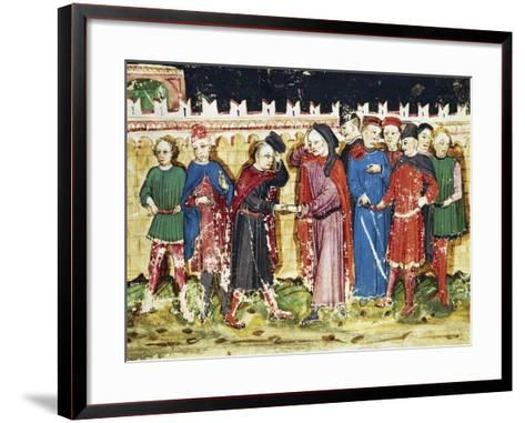 Bribing Tax Officials at the City Gates, Miniature from the Book of Privileges of Brescia--Framed Art Print