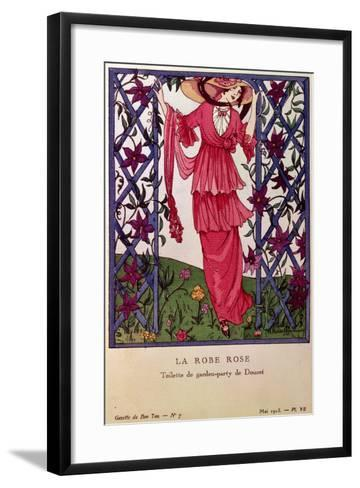 Gazette De Bon Ton: La Robe Rose, Garden Party Dress by Jacques Doucet, 1913--Framed Art Print