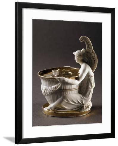 Inkwell Held Up by Winged Figure of Victory, Circa 1800, Porcelain Parisian Manufacture, France--Framed Art Print