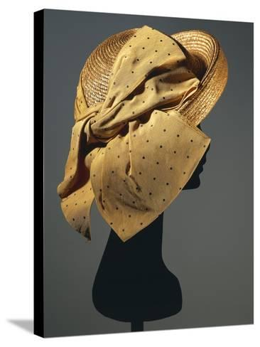 Natural Sewn Braid Straw Hat with Side Bow in Mustard Color with Black Dots, 1942--Stretched Canvas Print