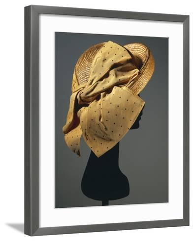 Natural Sewn Braid Straw Hat with Side Bow in Mustard Color with Black Dots, 1942--Framed Art Print