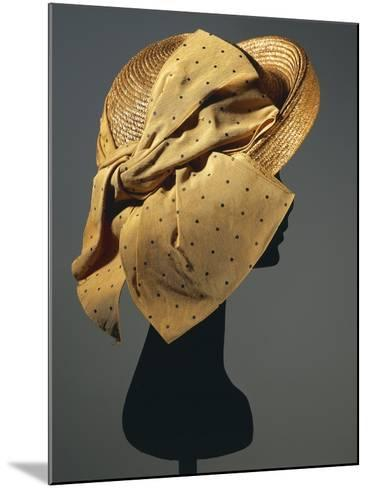 Natural Sewn Braid Straw Hat with Side Bow in Mustard Color with Black Dots, 1942--Mounted Giclee Print