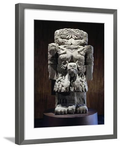 Stone Statue of Coatlicue, Goddess of Fire and Fertility--Framed Art Print