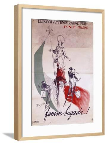 Fascist Poster for Local Elections in 1922, Italy--Framed Art Print