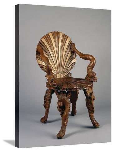 Rocaille Style Chair, with Back and Seat in Form of Shell and Arms Decorated with Tritons, France--Stretched Canvas Print