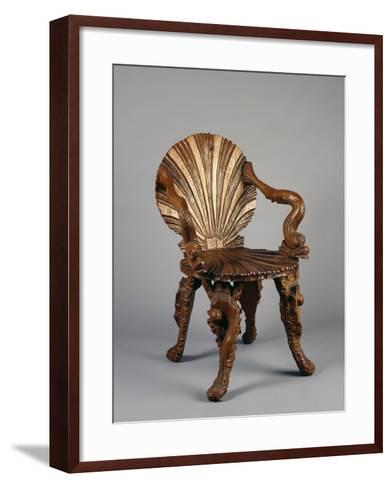 Rocaille Style Chair, with Back and Seat in Form of Shell and Arms Decorated with Tritons, France--Framed Art Print