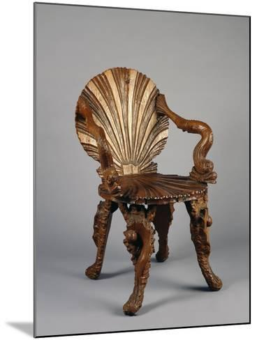 Rocaille Style Chair, with Back and Seat in Form of Shell and Arms Decorated with Tritons, France--Mounted Giclee Print
