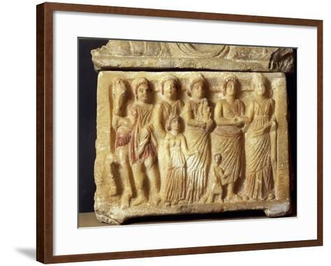 Alabaster Urn Depicting a Scene of a Funeral Procession, 5th Century BC--Framed Art Print