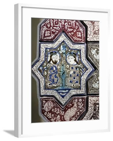 Panel, Ceramic, from Damghan Tomb, Kashan Province, Detail, Persia, 13th-14th Century--Framed Art Print