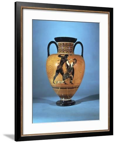 Black-Figure Pottery, Amphora Depicting Achilles and Penthesilea--Framed Art Print