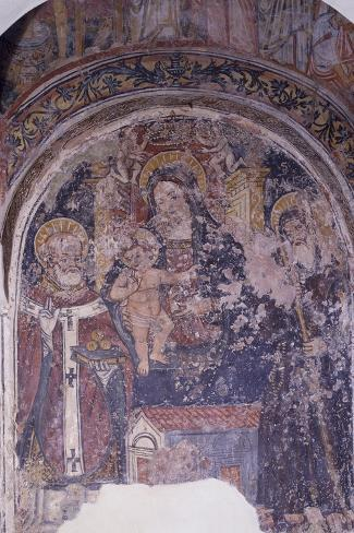 Madonna Enthroned with Child and Saints, Church of San Pietro, Otranto, Apulia, Italy--Stretched Canvas Print