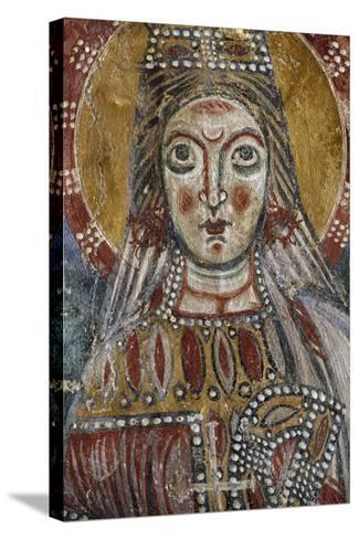 Face of Saint, Detail from 12th-Century Fresco, Grotto of Saints, Calvi Risorta, Campania, Italy--Stretched Canvas Print