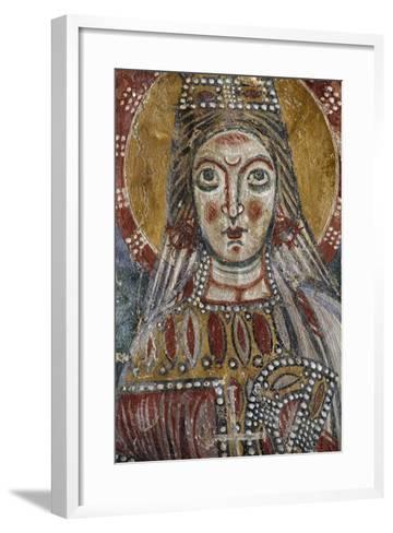 Face of Saint, Detail from 12th-Century Fresco, Grotto of Saints, Calvi Risorta, Campania, Italy--Framed Art Print