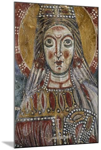 Face of Saint, Detail from 12th-Century Fresco, Grotto of Saints, Calvi Risorta, Campania, Italy--Mounted Giclee Print