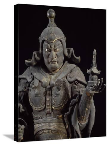 Bishamon-Ten, Guardian of the North, Lacquered Cypress Wood Statue, Japan--Stretched Canvas Print