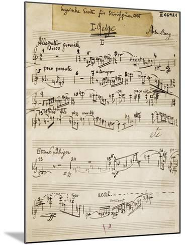 Handwritten Score of Lyric Suite by Alban Berg--Mounted Giclee Print
