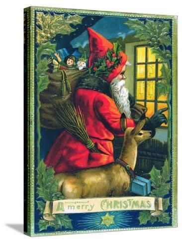 A Merry Christmas, Santa Tapping on the Window Card--Stretched Canvas Print