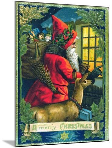 A Merry Christmas, Santa Tapping on the Window Card--Mounted Giclee Print