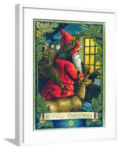 A Merry Christmas, Santa Tapping on the Window Card--Framed Art Print