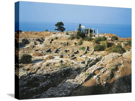 Lebanon, Byblos, Ruins of the Temple of Baalat Gebel and Roman Colonnade--Stretched Canvas Print