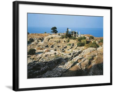 Lebanon, Byblos, Ruins of the Temple of Baalat Gebel and Roman Colonnade--Framed Art Print