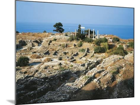 Lebanon, Byblos, Ruins of the Temple of Baalat Gebel and Roman Colonnade--Mounted Giclee Print