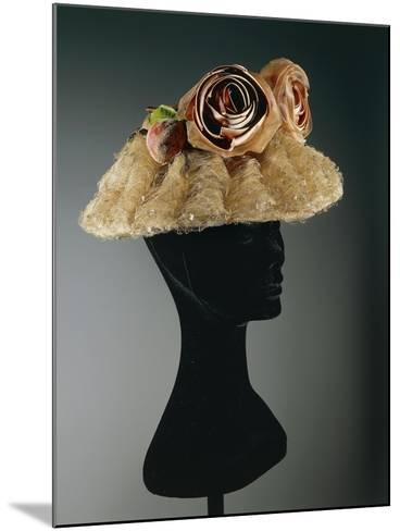 Women's Cloche Oriental Straw Hat Ornamented with Tulle, Net--Mounted Giclee Print